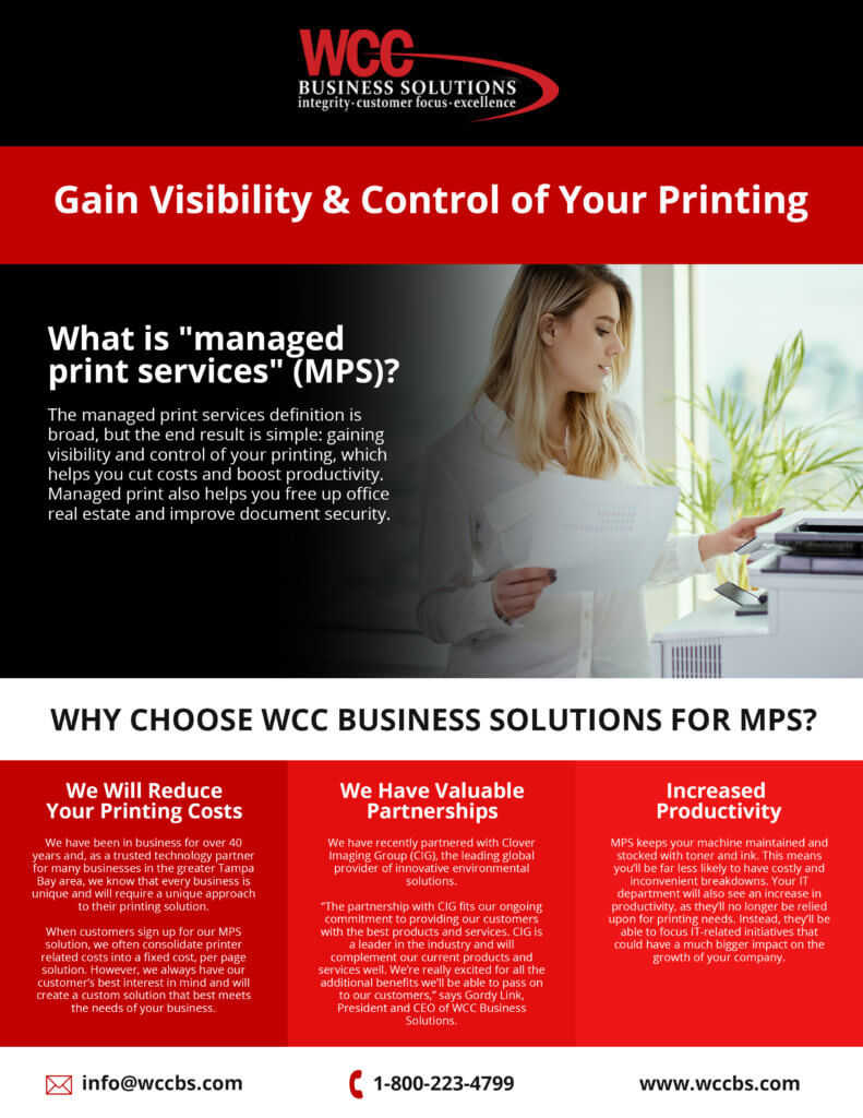 WCC flyer for managed print services