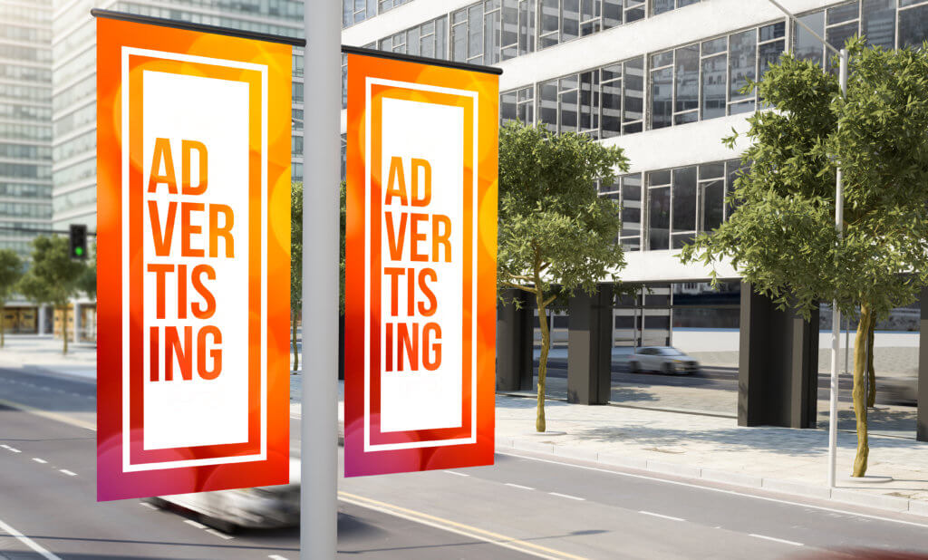 lamp post advertising banner printed on a wide format printer
